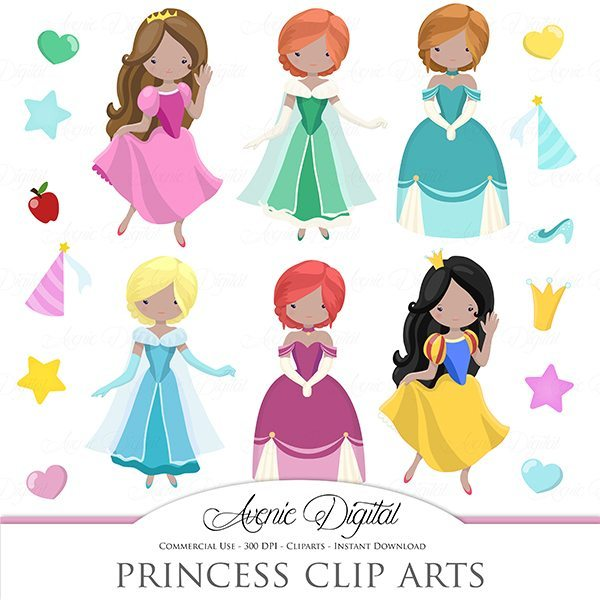 Cute Princess Clip art  Avenie Digital    Mygrafico