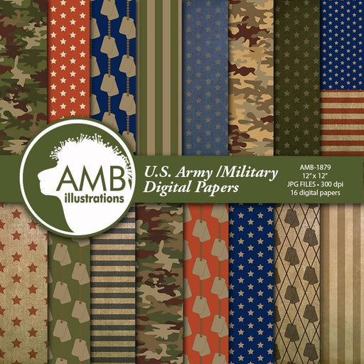 US Army Digital Paper, Army Theme Scrapbook, Military Scrapbook, Veterans Day, Army Backgrounds AMB-1879 Digital Paper & Backgrounds AMBillustrations    Mygrafico