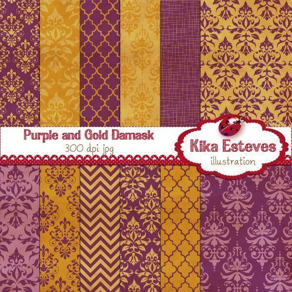 Purple and Gold Damask  Kika Digital    Mygrafico