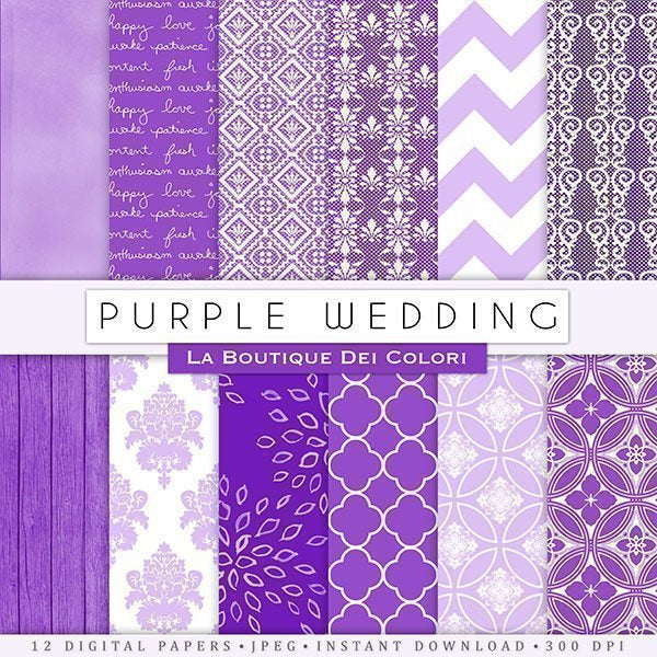 Purple Wedding Digital Papers  La Boutique Dei Colori    Mygrafico