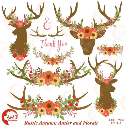 Wedding Clipart, Floral Antlers, Floral Embellishments, Floral Deer Antler Clipart, Rustic Wedding clipart, AMB-1486 Cliparts AMBillustrations    Mygrafico
