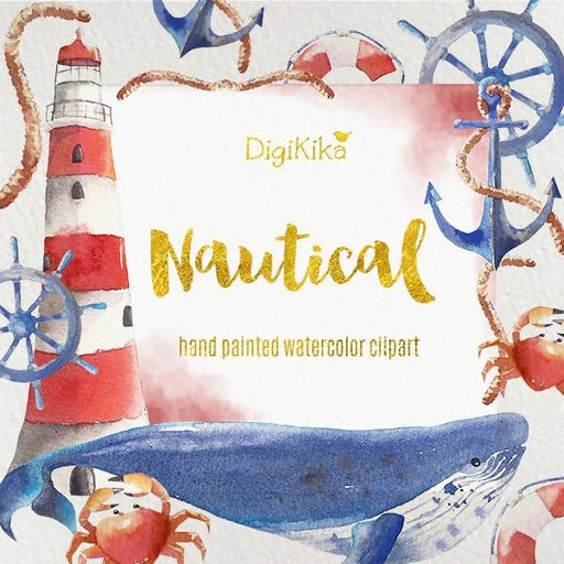 Nautical Clipart, Hand Painted Watercolor - Seaside Clip art, Summer Wedding Invitation, Nautical Graphics Cliparts DigiKika    Mygrafico