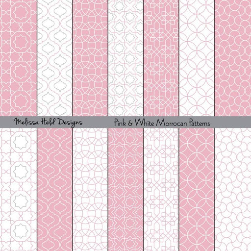 Pink Moroccan Patterns Digital Paper & Backgrounds Melissa Held Designs    Mygrafico