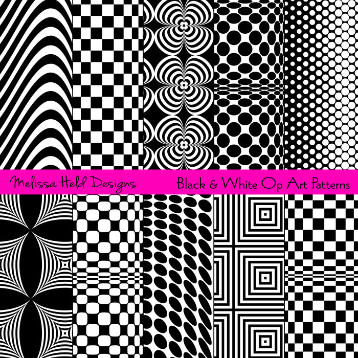 Black White Op Art Patterns Digital Paper & Backgrounds Melissa Held Designs    Mygrafico