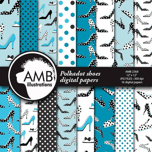 Shoe digital papers, High Heel digital papers, Polkadot Backgrounds Fashion papers, scrapbook, commercial use, AMB-2368 Digital Paper & Backgrounds AMBillustrations    Mygrafico