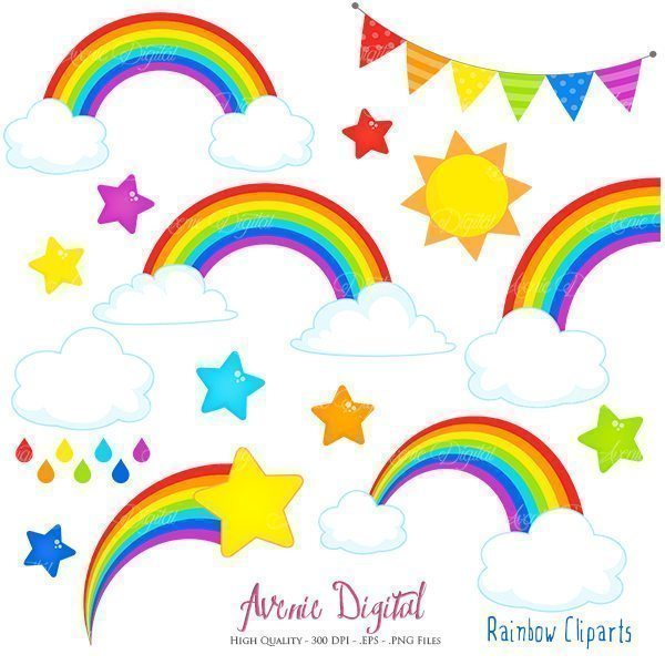 Rainbow and Cloud Clip Art  Avenie Digital    Mygrafico