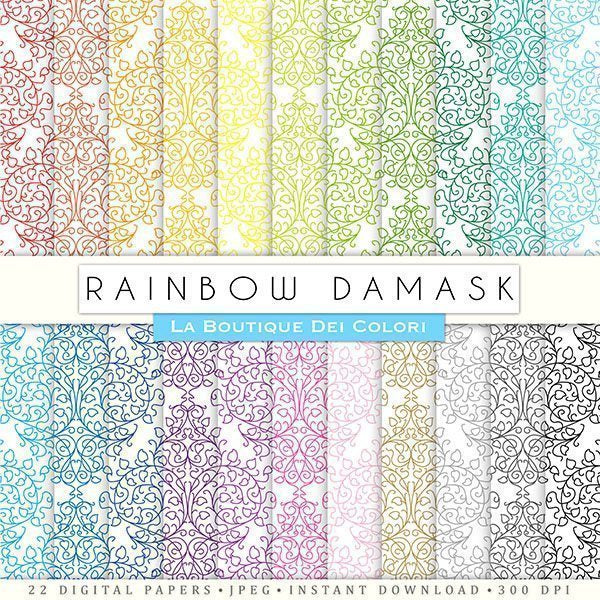 Scrapbooking Damask Digital Papers  La Boutique Dei Colori    Mygrafico