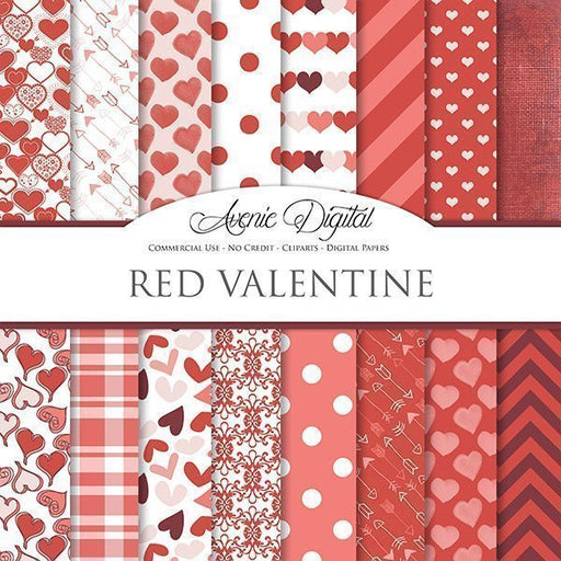 Red Valentine Digital Paper  Avenie Digital    Mygrafico