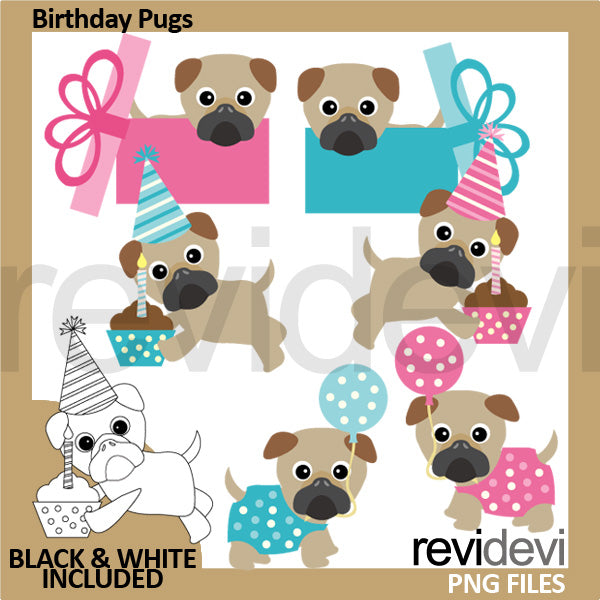 Birthday Pugs Clipart  Revidevi    Mygrafico