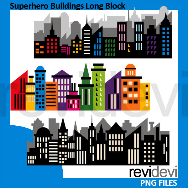 Superhero Skyline Buildings Long Block Clipart  Revidevi    Mygrafico