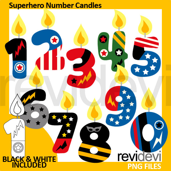Superhero Birthday Candle Numbers Clipart  Revidevi    Mygrafico