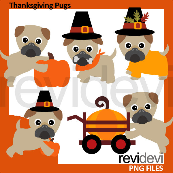 Thanksgiving Pugs Clipart  Revidevi    Mygrafico