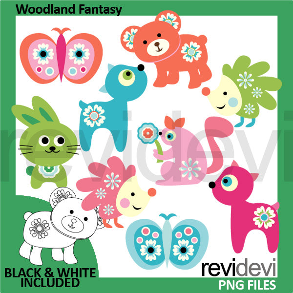 Woodland Animals Fantasy Clipart  Revidevi    Mygrafico
