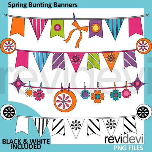 Spring Bunting Banners Clipart  Revidevi    Mygrafico