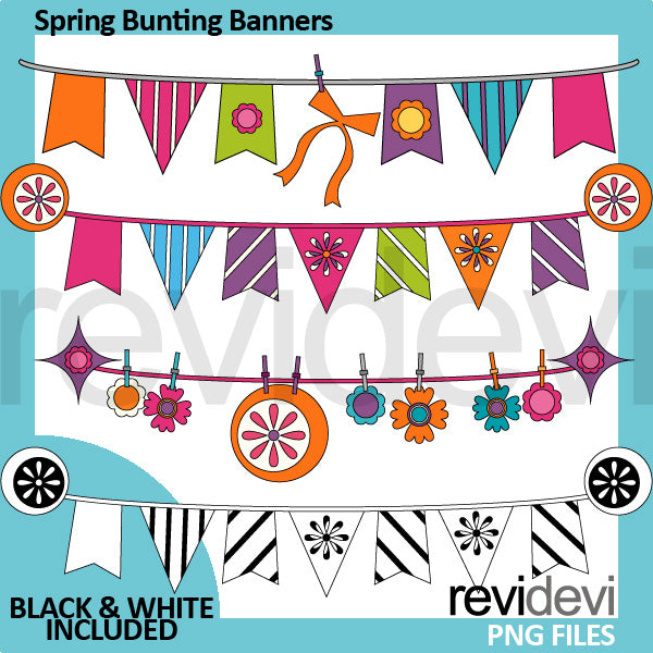 Spring Bunting Banners Clipart