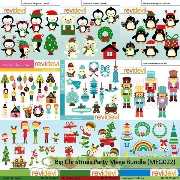 Big Christmas Party Clipart Mega Bundle  Revidevi    Mygrafico