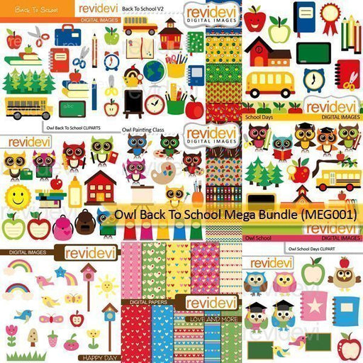 Owl Back to school clipart Mega Bundle  Revidevi    Mygrafico