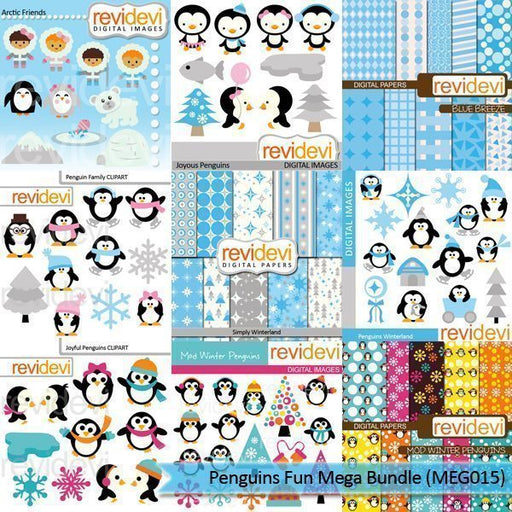 Penguins Fun Clip art Mega Bundle  Revidevi    Mygrafico
