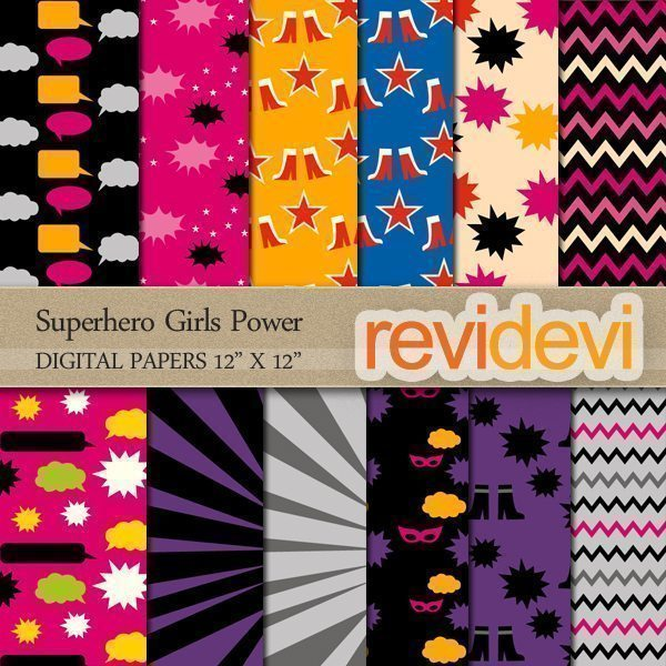 Superhero Girls Power Digital Papers  Revidevi    Mygrafico