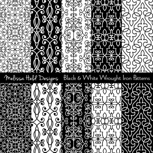 Black and White Wrought Iron Patterns Digital Paper & Backgrounds Melissa Held Designs    Mygrafico
