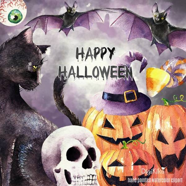 Halloween Watercolor Clipart, Hand Painted Watercolor Clip Art - Watercolor Halloween Illustration, halloween graphics, black cat, witch hat Cliparts DigiKika    Mygrafico
