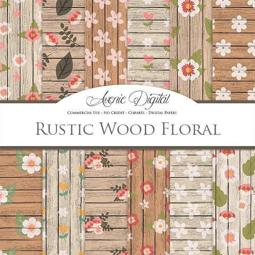 Rustic wood floral Digital Paper  Avenie Digital    Mygrafico
