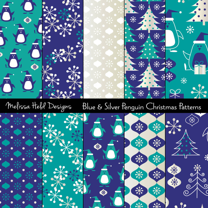 Blue and Silver Penguin Patterns Digital Paper & Backgrounds Melissa Held Designs    Mygrafico