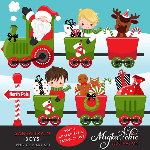 Christmas Santa Train Boys Clipart. Choo Cho Polar Express, Santa and cute characters, Christmas Gifts, Tree, bags, candy cane & North Pole