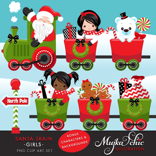 Christmas Santa Train Girls Clipart. Choo Cho Polar Express, Santa and cute characters, Christmas Gifts, Tree, bags, candy cane & North Pole