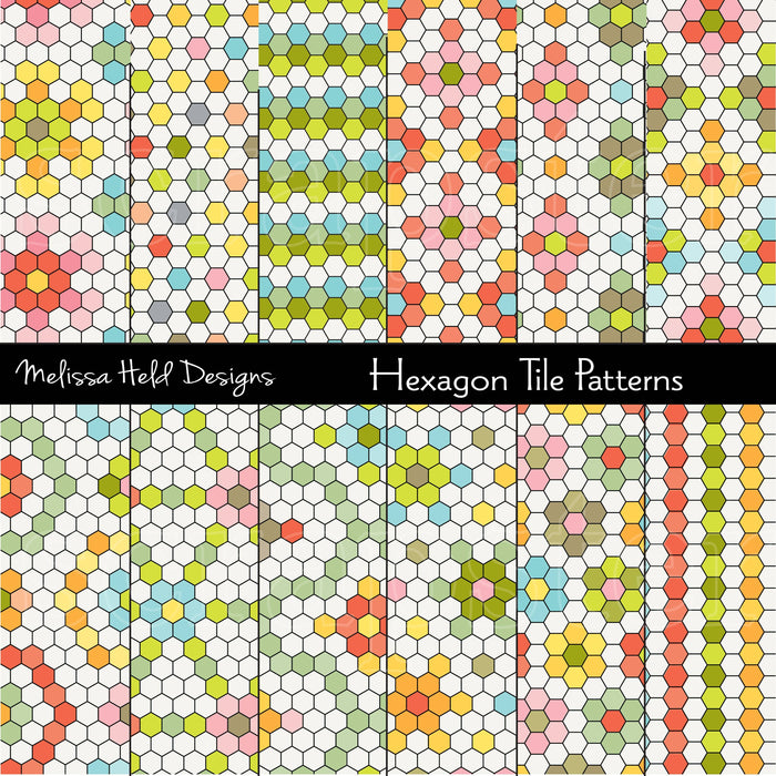 Hexagon Tile  Patterns Digital Paper & Backgrounds Melissa Held Designs    Mygrafico