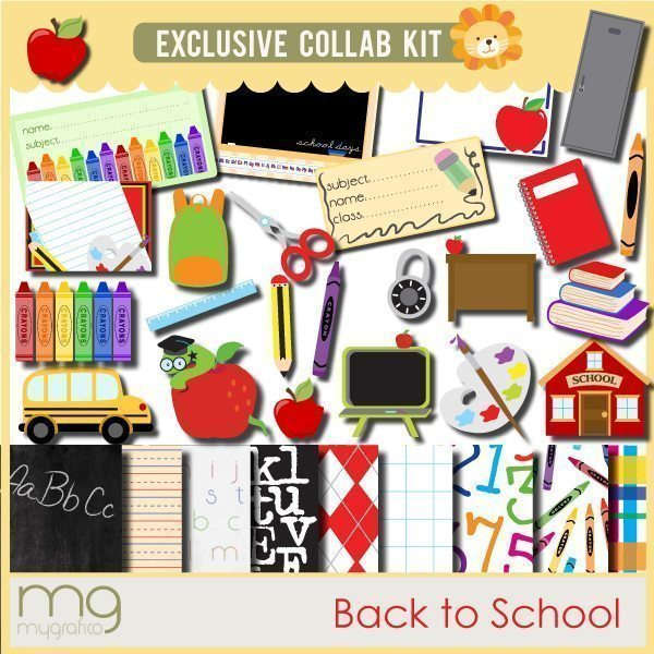 Back to School clipart, digital paper, digital stamps Mygrafico Collaborations    Mygrafico