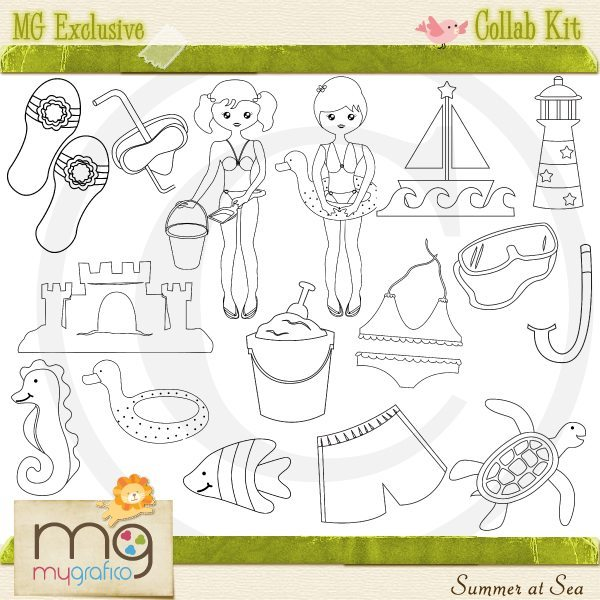 Summer At Sea Kit Cliparts Goodness & Fun    Mygrafico
