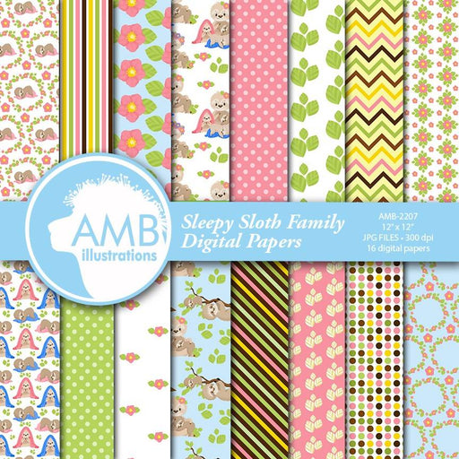 Sleepy Sloth Family Digital Papers, Sloth babies digital backgrounds, Cute sloth pattern papers for cards and crafts, Comm Use, AMB-2207 Digital Paper & Backgrounds AMBillustrations    Mygrafico
