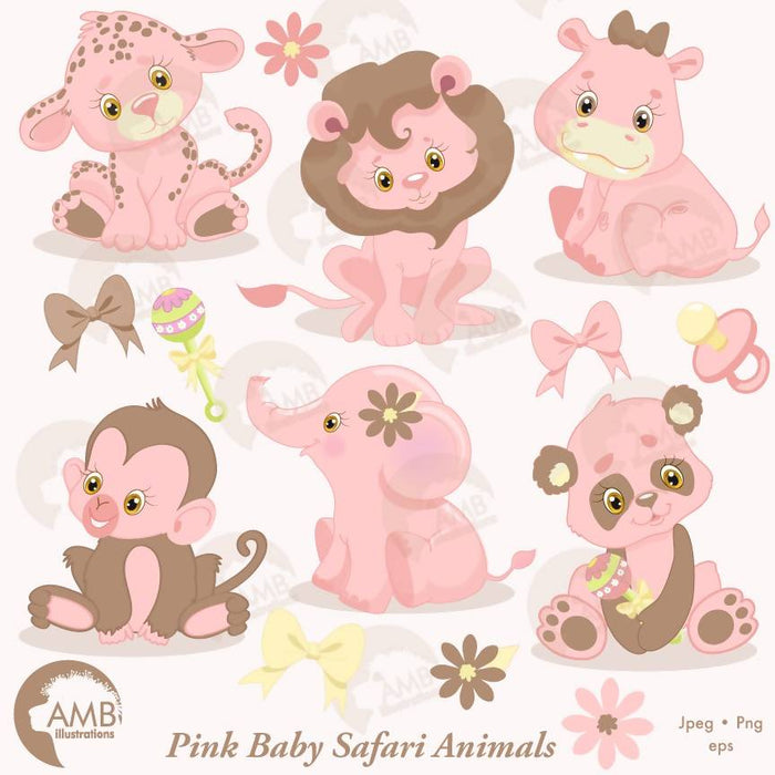 Jungle Animals Clipart, Jungle Animal Babies, Nursery Pink Baby Animals, AMB-1209 Cliparts AMBillustrations    Mygrafico