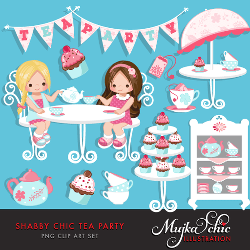 Shabby Chic Tea Party Clipart  Mujka Chic    Mygrafico