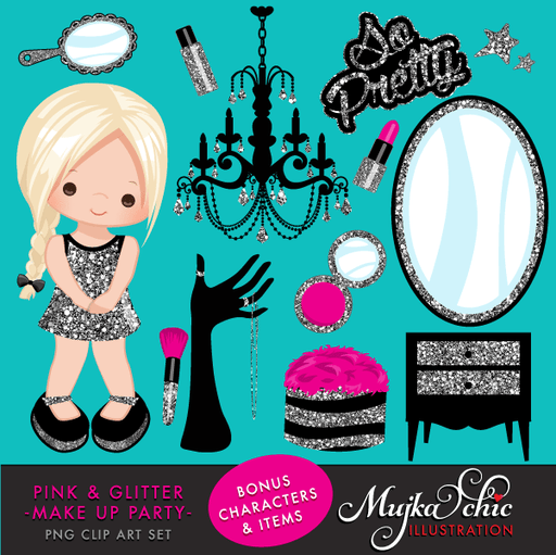 Pink & Silver Glitter Make up Party Clipart  Mujka Chic    Mygrafico