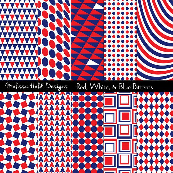 Red White Blue Patterns Digital Paper & Backgrounds Melissa Held Designs    Mygrafico