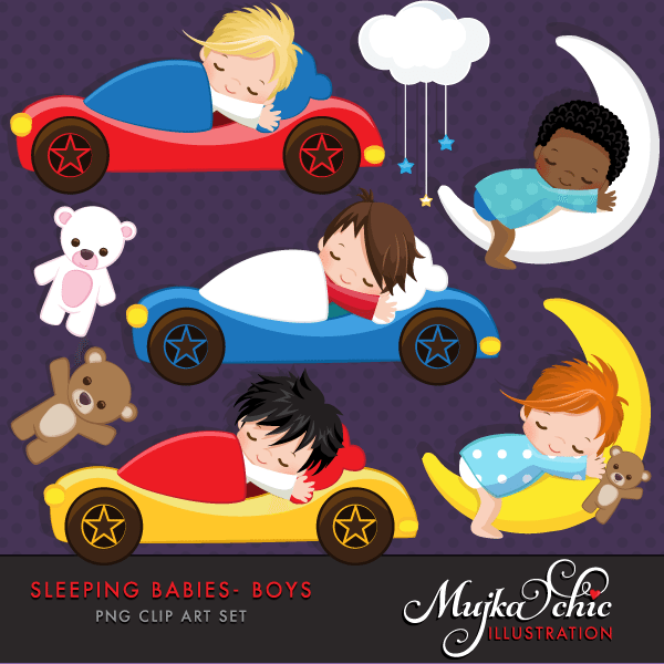 Sleeping Babies in car beds Clipart Instant Download Baby graphics  Mujka Chic    Mygrafico