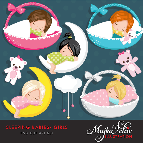 Sleeping Babies in baby baskets Clipart Instant Download Baby graphics  Mujka Chic    Mygrafico