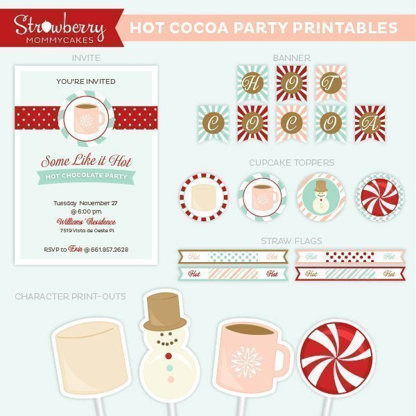 Hot Chocolate Party Printables Party Printable Templates Strawberry Mommycakes    Mygrafico