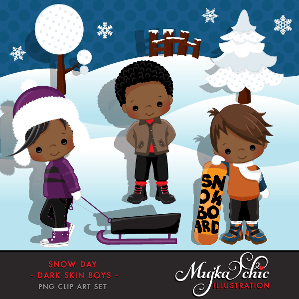 Snow Day Clipart African American Boys Instant Download Winter Outdoor Graphics with cute characters  Mujka Chic    Mygrafico