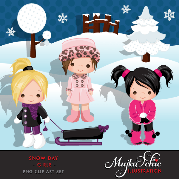 Snow Day Clipart Girls Instant Download Winter Outdoor Graphics with cute characters  Mujka Chic    Mygrafico