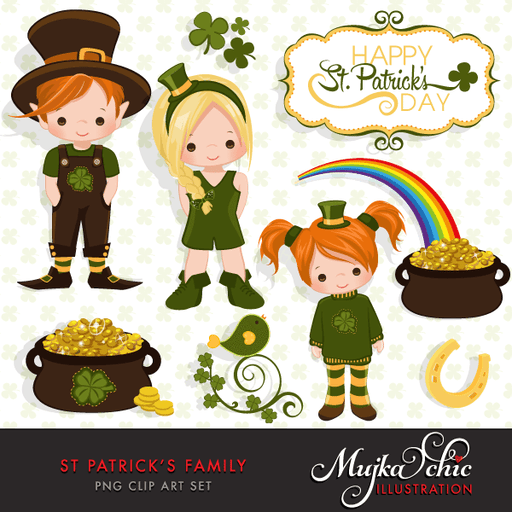 St. Patrick's Day Family Clipart with Cute Irish Characters and frames  Mujka Chic    Mygrafico