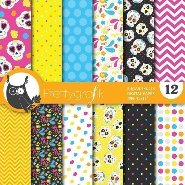 Sugar skull papers Digital Papers & Backgrounds Prettygrafik    Mygrafico