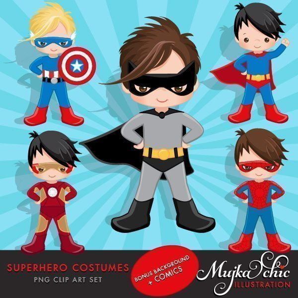 Superhero Costumes Clipart for Boys  Mujka Chic    Mygrafico