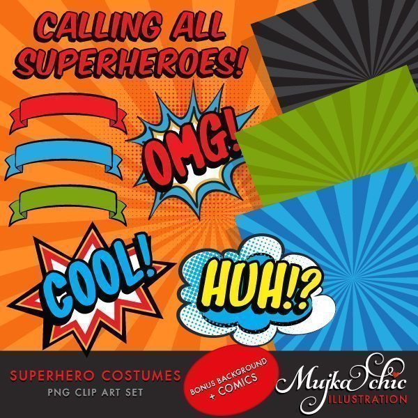 Superhero Costumes Clipart for Girls!  Mujka Chic    Mygrafico
