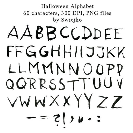 Halloween Alphabet clipart set, hand painted, watercolor, ink