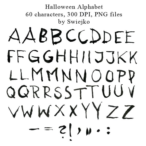 Halloween Alphabet clipart set, hand painted, watercolor, ink Clipart Swiejko    Mygrafico