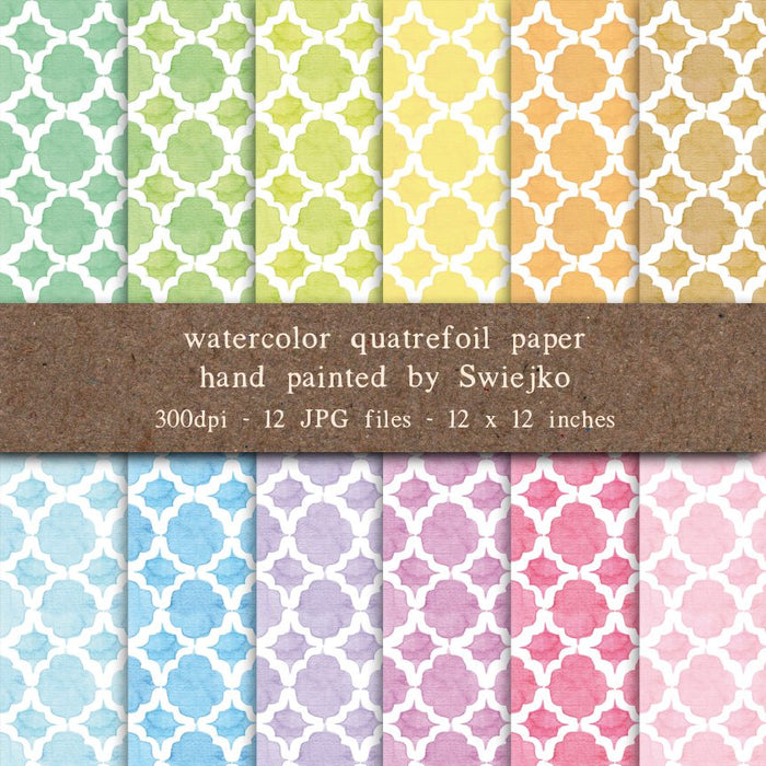Quatrefoil Digital Paper, Watercolor Background Digital Paper & Backgrounds Swiejko    Mygrafico
