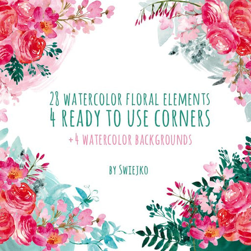 Watercolor Flowers, Floral Corners Cliparts Swiejko    Mygrafico